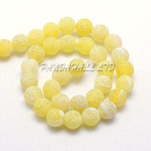 Natural Crackle Agate Beads Strands, Dyed, Round, Gold, 6mm, Hole: 1mm; about 63pcs/strand, 15.5