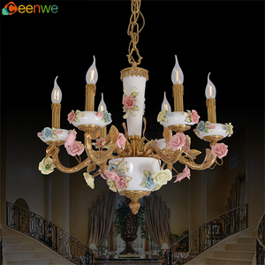Antique brass copper 6 light chandelier lighting with ceramic lamp