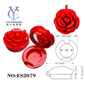 Unique Design Rose Shaped Single Color Eyeshadow Case with Mirror