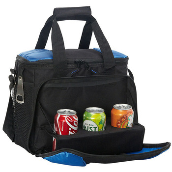 24 cans travel cooler with drink tray insulated lunch box ice pack food cooling bag