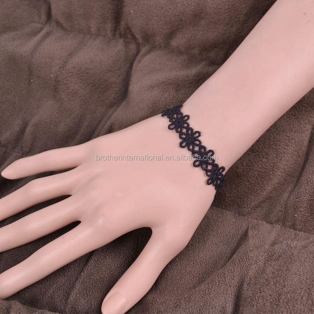 Gothic Black Simple Lace Cuff Bracelet Arm Bracelet