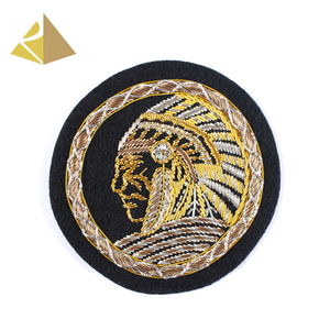 Distinctive Factory Custom Bullion Wire Hand Embroidered Suit Round Badge