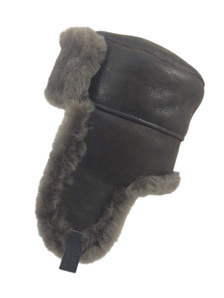 ed85345ce51 Get Quotations · Zavelio Men s Shearling Sheepskin Trooper Russian Ushanka  Winter Fur Hat