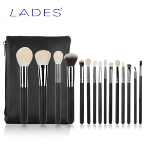 LADES 15pcs Black High Quality Private Label Cosmetics brush Goat Hair Custom Makeup Brush