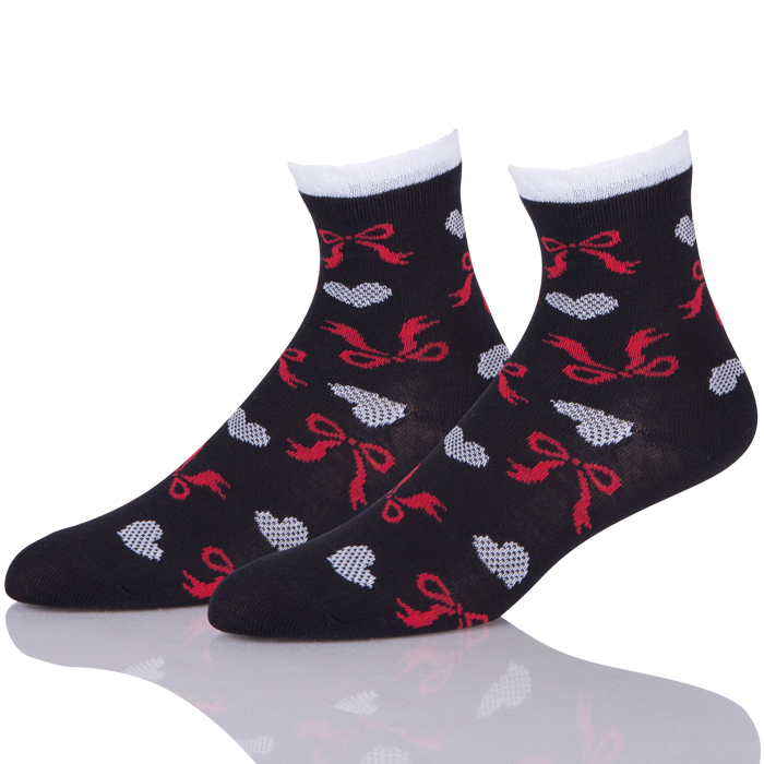 Black Bow Striped Low Cut Knit Cotton Kawaii Socks Women
