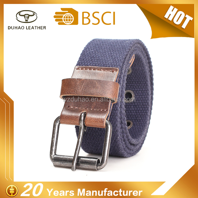High Quality Men's Canvas Belt fabric Polyester Belt For Man With Pu Leather Trim