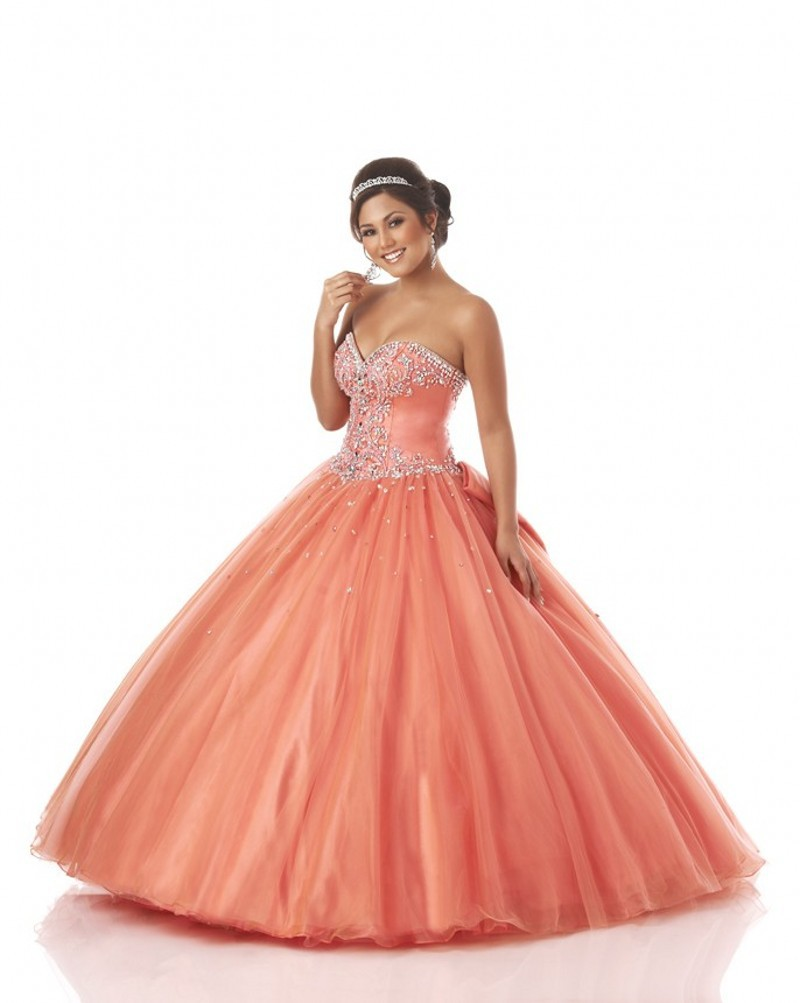 Buy Hot Sale Beaded Top Coral Quinceanera Dresses Debutante Gowns ...