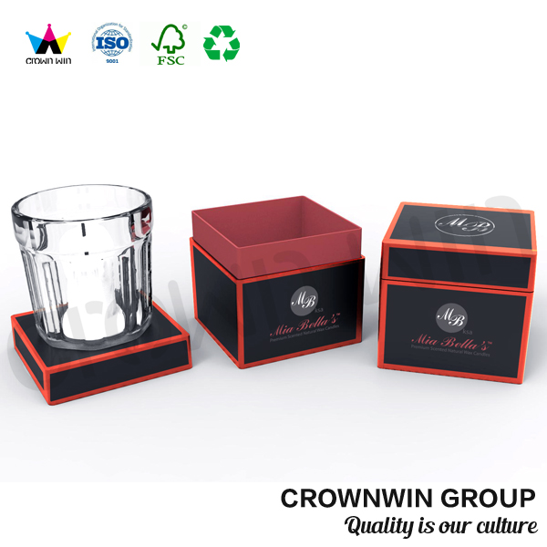 Crownwin Square Matte Black Candle Gift Packaging Box