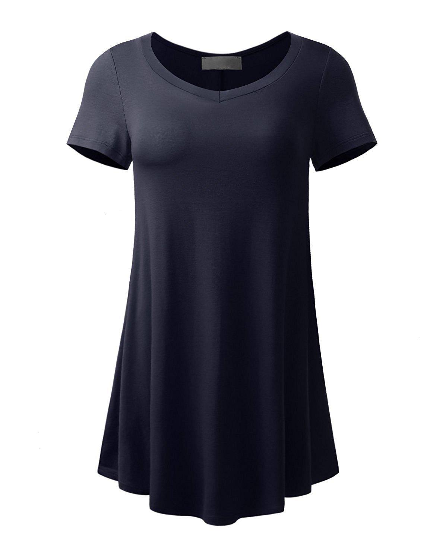 LY California LYCA Women's Side Pockets Short Sleeve Flare Hem Tunic Top