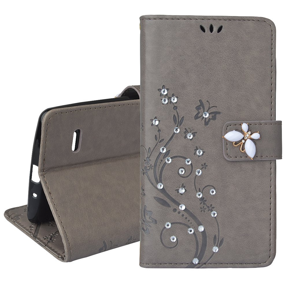 Spritech(TM) LG G Stylo Cellphone Bling Case,PU Leather Wallet Slim Fold Phone Cover 3D Handmade Bling Rhinestone Floral Design with Card Slot,Grey
