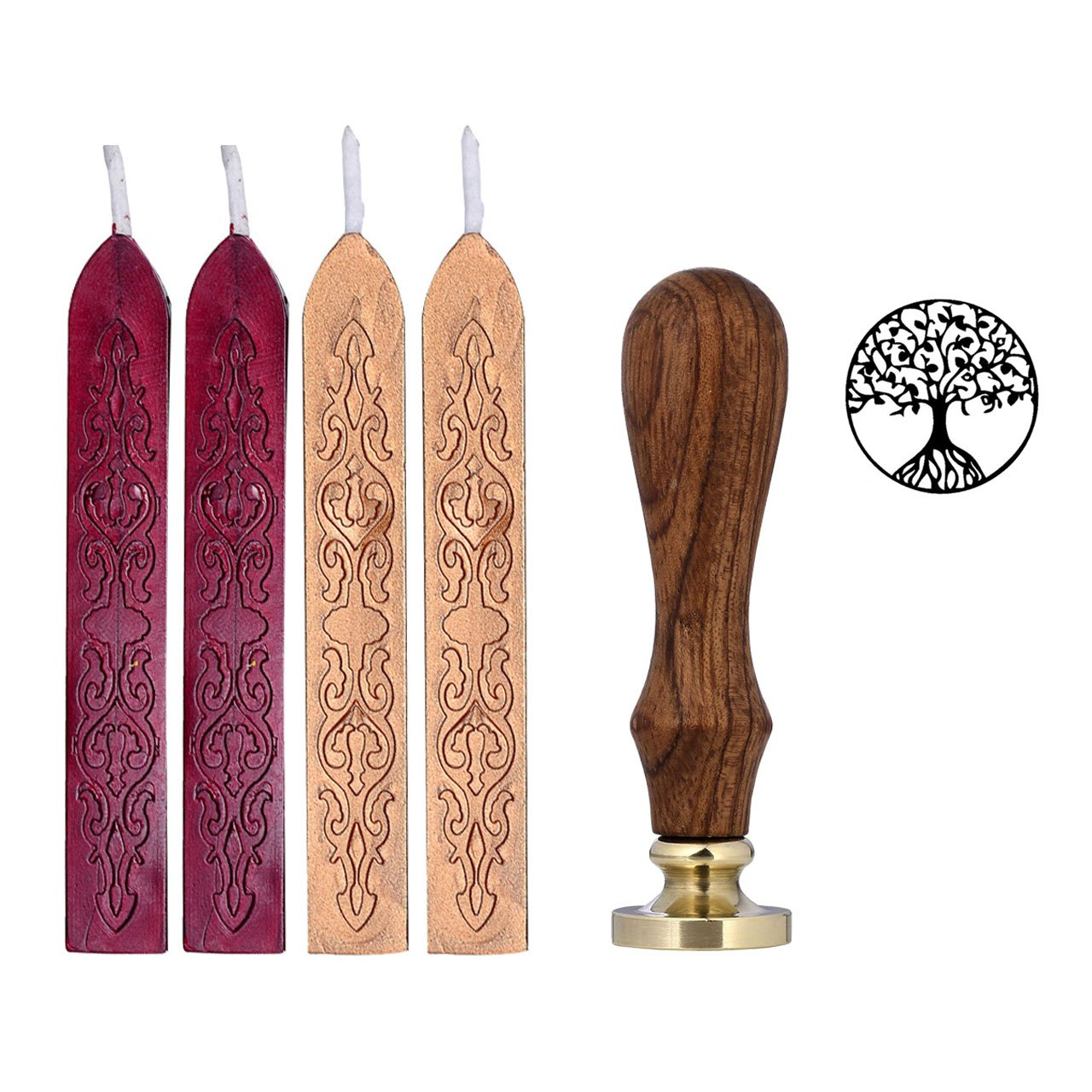 Wax Seal Stamp Set, Yoption 4 Pcs Totem Fire Manuscript Sealing Wax Sticks with Wick +1 Piece Wax Seal Stamp for Paper Stationery Envelope and Parcels Seals (Red Wine+Dark Gold+Tree of Life Stamp)