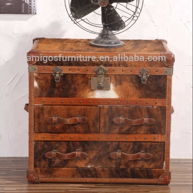 CowHide Ponyskin Leather Trunk Cabinet