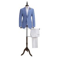 stylish design custom fit notch lapel two buttons good quality dress picture office uniform custom blue urban men suit