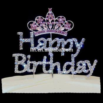 Astonishing Fashionable Rhinestone Happy Birthday Cake Topper For Birthday Funny Birthday Cards Online Necthendildamsfinfo