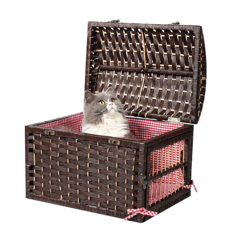 Nature Pet Rattan Carrier House 2 Color Pet Home