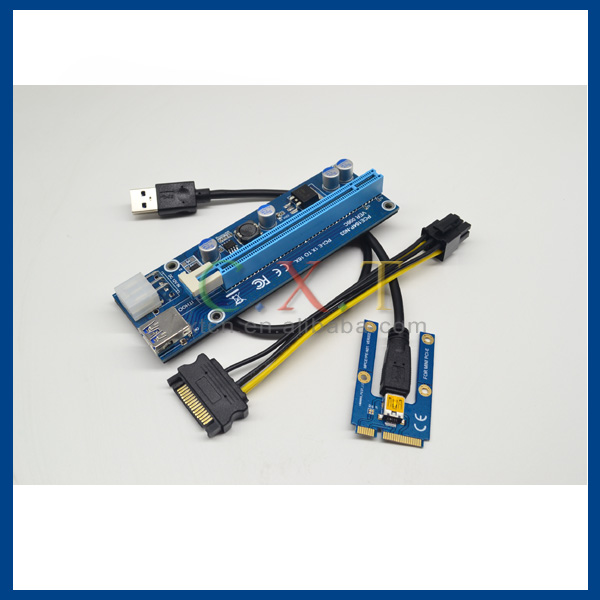 mini pci express pci-e riser pcie 1x to 16x riser card with SATA 6pin cable usb riser For bitcoin miner BTC machine