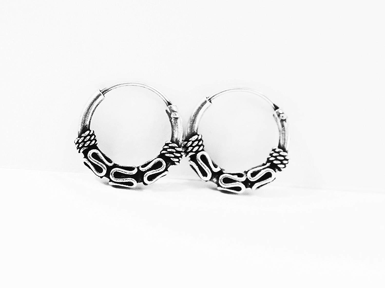 7809acde4912e2 Get Quotations · Sterling Silver Tribal Bali Waves Twist Hoops Earrings  12mm -Cartilage Hoop Earrings