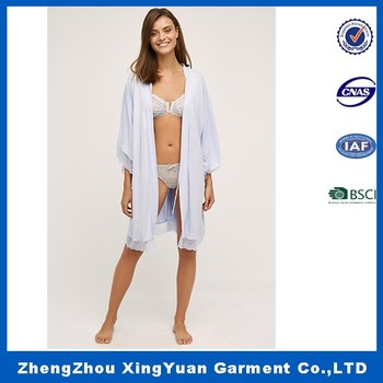 6da04029909 Custom Made Branded Sexy Girls long Sleeve knitting fabric Night Robes  Decorate With Lace