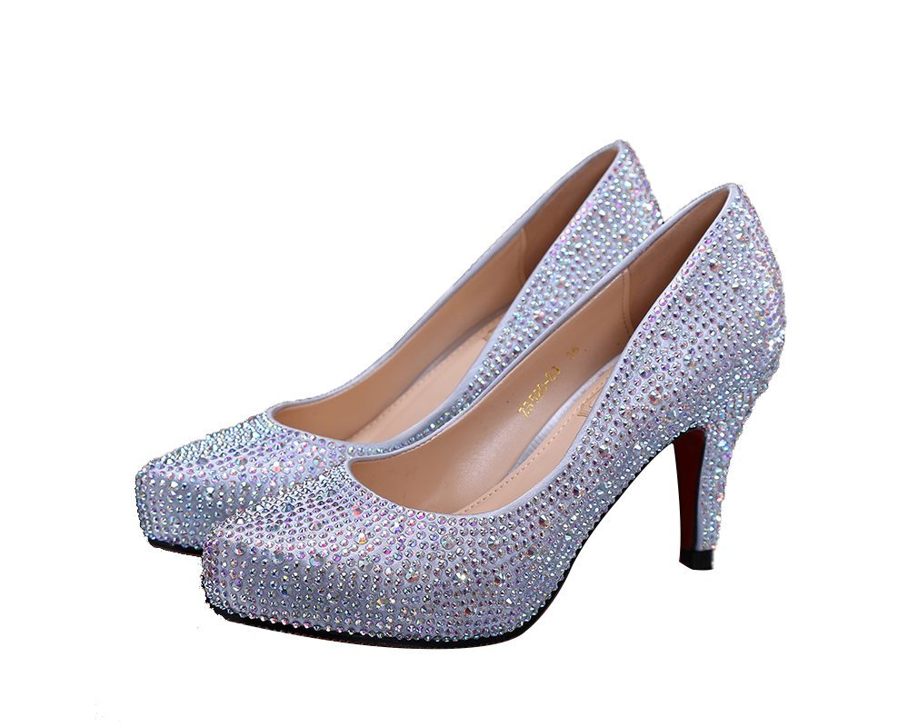 Wedding Shoes Bling Sparkle Princess Crystal Shoes Silver