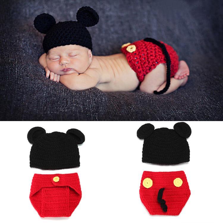 ... Preguntas sobre Mickey diseño bebé ganchillo sombrero y pañal conjunto  recién nacido tejido traje bebé niño ganchillo fotografía accesorios bebé  trajes ... c25f0b44a9c9