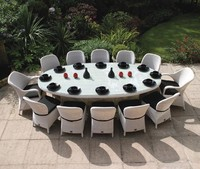 HL-6369 Modern Restaurant wood table and chairs Rattan/Wicker Outdoor Furniture