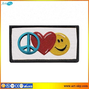 Artsky hand cut border embroidered applique embroidery regalia patch designs Peace Sign Heart Smiley Face garment stickers