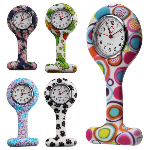 wholesale nurse gifts for nurses week Colorful Silicone Stainless Cute Round Dial Quartz Fob Quartz Pocket Nurse Watch