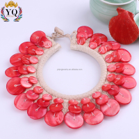 NYQ-00879 bali shell choker necklace special design dye red beach shell necklace bib exquisite handmade seashell jewelry