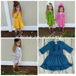 Little girl boutique clothing wholesale boutique remade baby dresses long sleeve children cotton frocks designs cute dresses