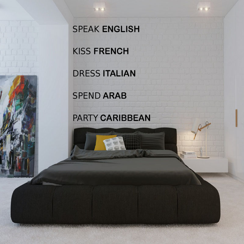 Speak English Kiss French Dress Italian Bedroom Wall Stickers Home Decor Vinyl Removable Wall Decals Text