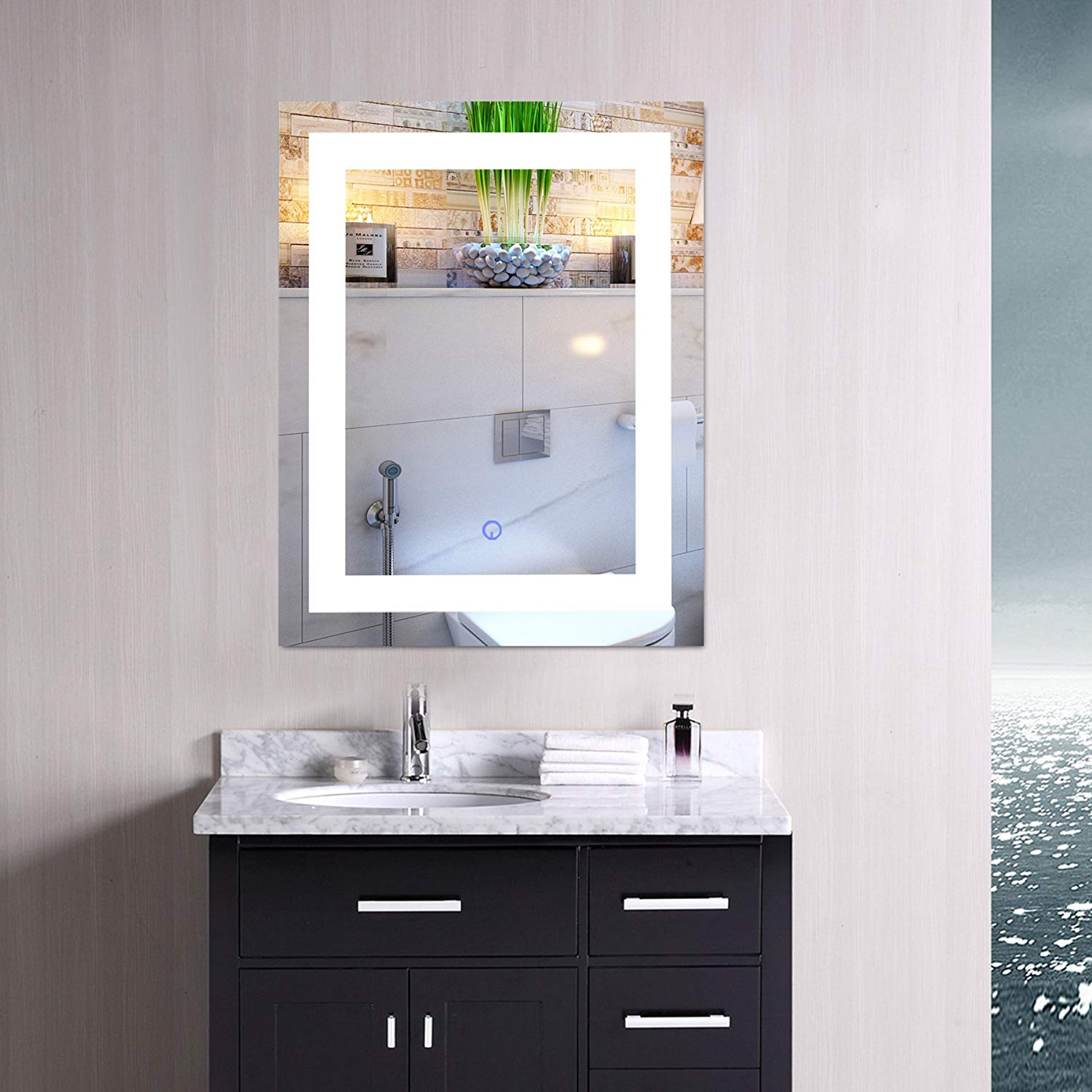 Get Quotations Co Z Modern Led Bathroom Mirror Dimmable Rectangle Lighted Wall With Lights And