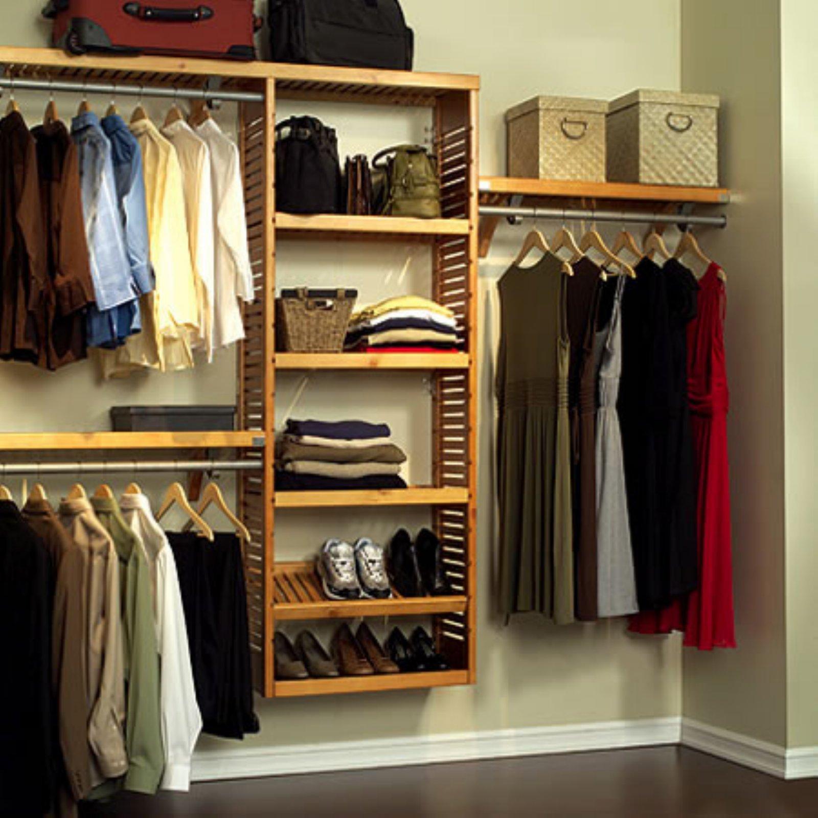 Get Quotations · John Louis Home JLH 528 Premier 12 Inch Deep Closet  Shelving System, Honey