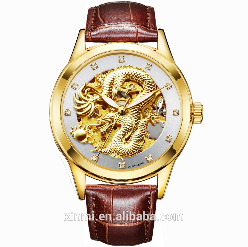 China Top Brand Watch OEM Wristwatch Gold Dragon Diamond Leather Wrist Watch Luxury Clock for Male, Any color are available