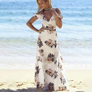V Neck Beach Ladies Long Chiffon Plus Size Maxi Dresses With Floral Print