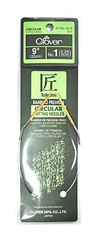 Clover Takumi Bamboo 9 Inch Circular Knitting Needle Size 1