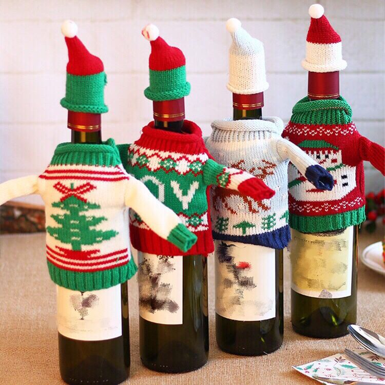 New Christmas Supplies Knitted Christmas Red Wine Covers Of Festival Decorations