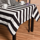 TC062C cheap dining black and white stripe polyester cotton wedding table cloth factory