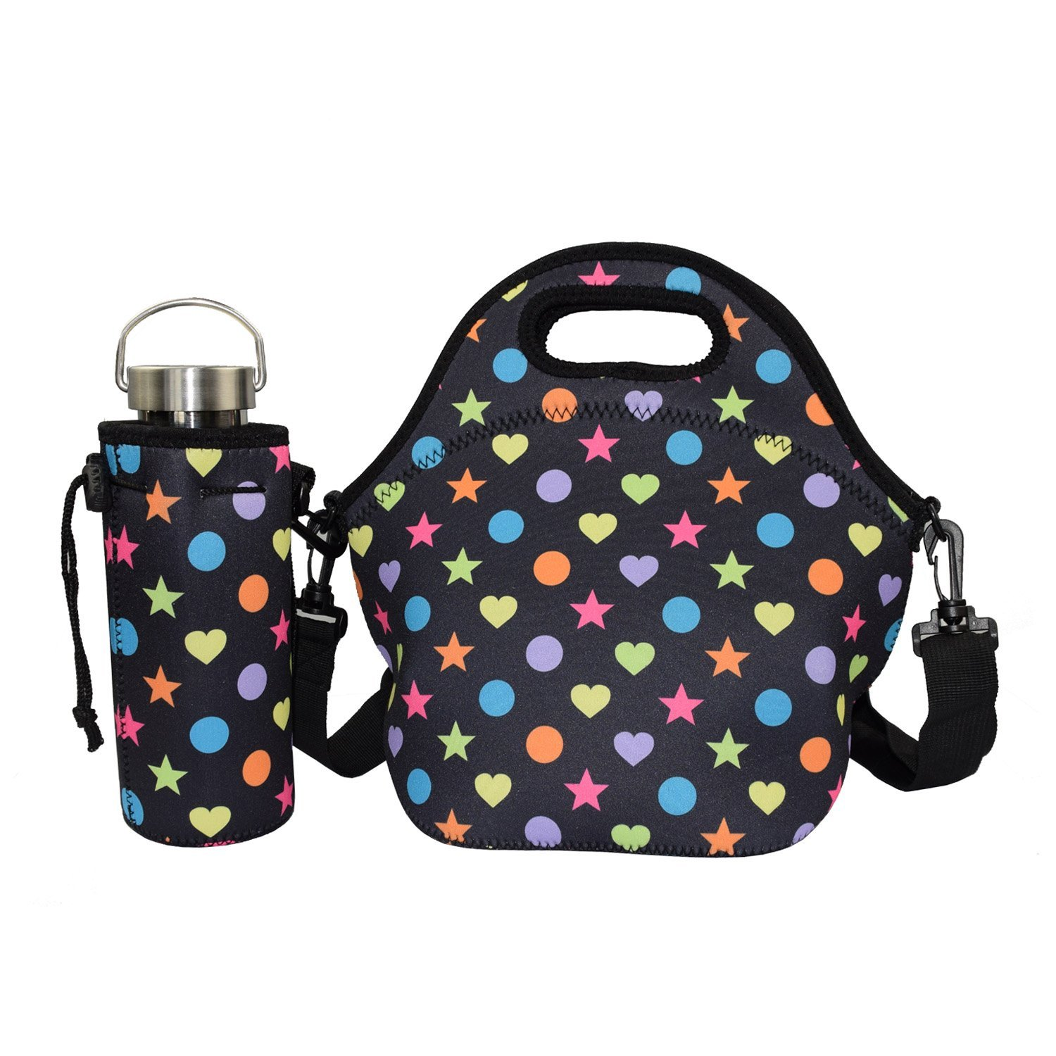 Get Quotations · Lunch Bag with Water Bottle Holder - YAMAY® Neoprene Insulated  Lunch Tote Bag Cooler with fda12bb3d144f