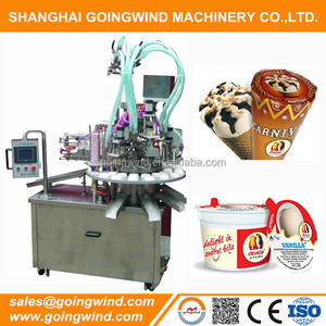 Automatic ice cream filling sealing machine small auto cup cone ice cream rotary filler machinery cheap price for sale