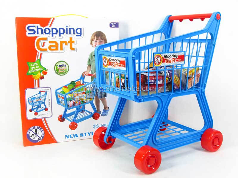Pretend toys super market play sets boy plastic toy shopping cart