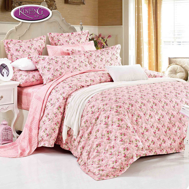 Custom Logo Bed Sheets 100% Cotton Fabric Reactive Printed Floral Bedding  Set
