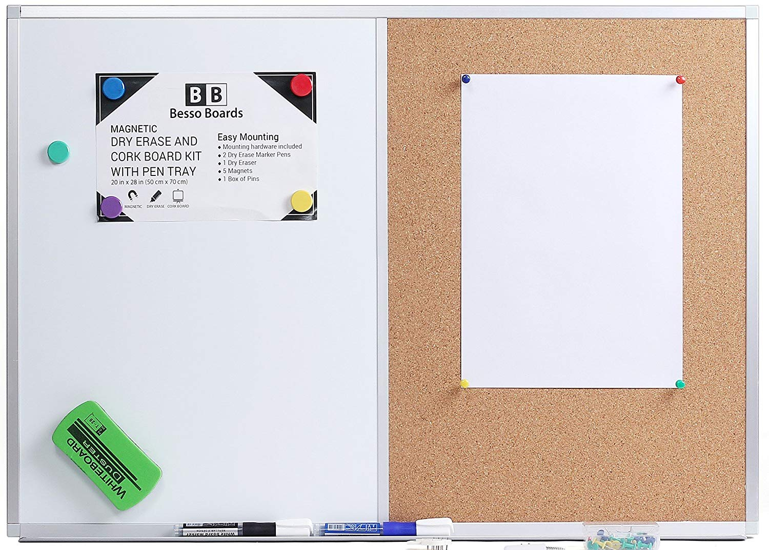 Get Quotations 28 X 20 White Board And Cork Combination Magnetic Bulletin Combo For Home