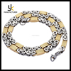 Silver Gold Color Flat Byzantine Link Stainless Steel Necklace Mens Chain Jewelry