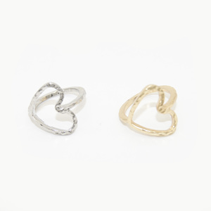 Fashion Jewelry Two Colors Gold or Platinum Simple Hollow out Love Heart Rings