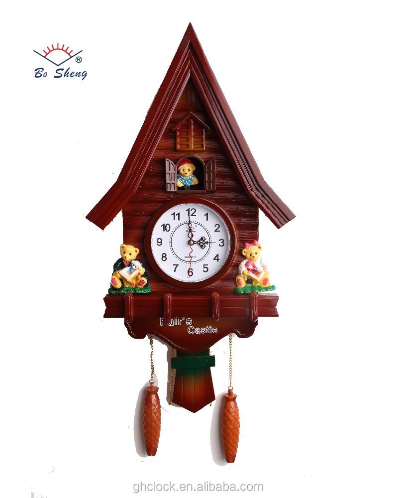 Large House Shape Bird Wall Clock Home