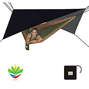 """Hammock Bliss - Stay Dry Jumbo Rain Fly - Extra Huge Waterproof Tent Tarp and Hammock Shelter To Cover Your Hammock and Gear – Enormous 98"""" Wide Area Makes Hammock Camping A Dry Rain Free Experience"""