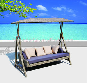 WF-Y0002 wicker/rattan outdoor swing bed with cushion