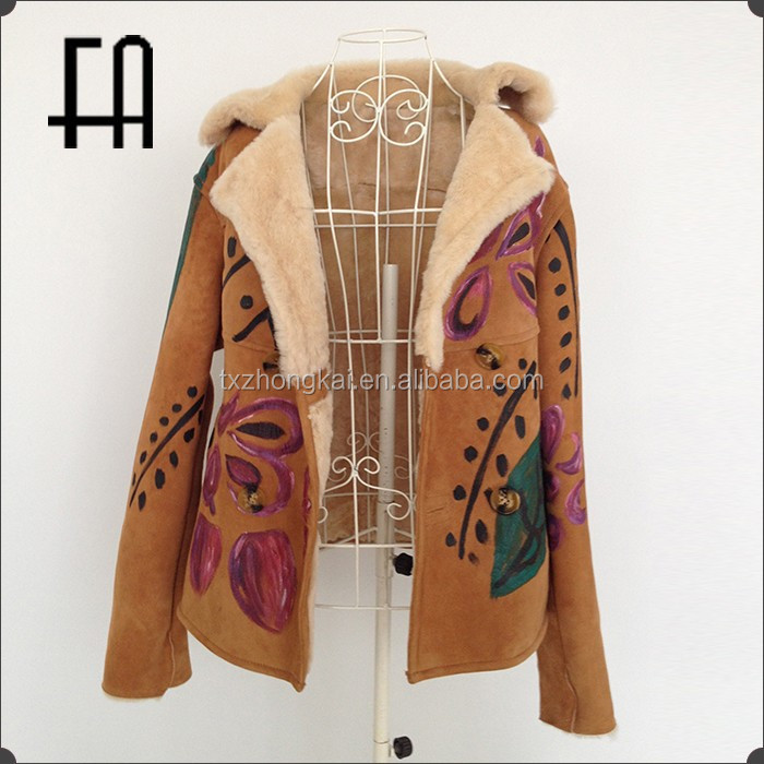 Factory direct wholesale pirce double face leather garment/double face sheepskin fur coat/leather fur coat