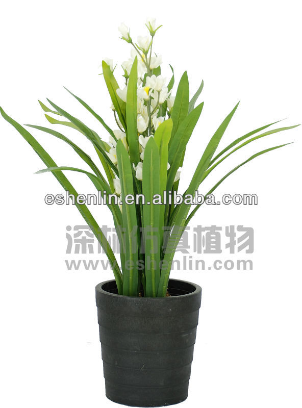 3ft Real Touch Silk Cymbidium Orchid,White Orchid,Silk Plant And ...