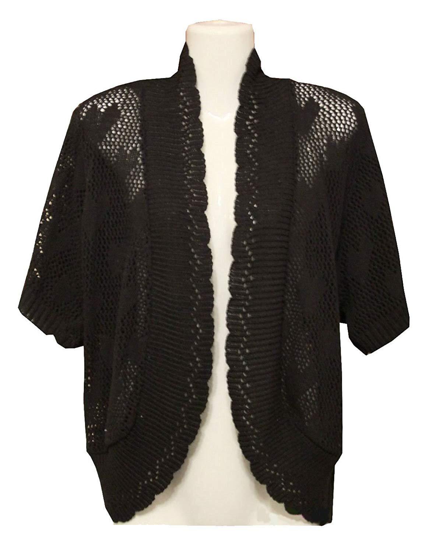 Rimi Hanger Womens Long Sleeve Crochet Heart Knitted Bolero Cardigan Ladies Fancy Jumper Top US 12-28
